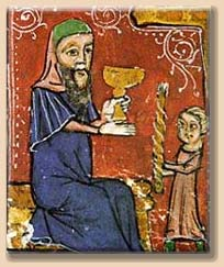 Hot wine served from a 12th century manuscript