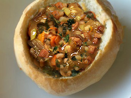 Tuscan bean stew in a bread bowl