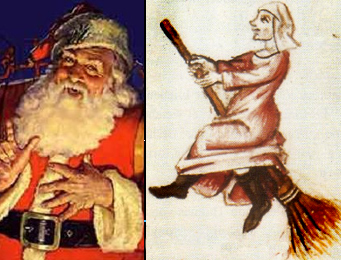 Santa from a 20 c. Coca Cola ad and La Befana flying a broomstick from a 14th c manuscript.