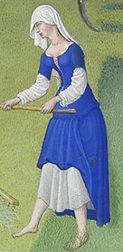 14th C. woman in chemise and kirtle