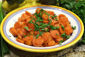 carrots with parsley in a bowl